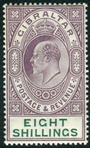 GIBRALTAR-1911 8/- Purple & Green.  A lightly mounted mint example Sg 74