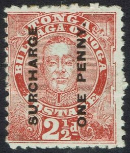 TONGA 1895 KING SURCHARGE ONE PENNY ON 21/2D