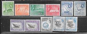 Aden #48-50,51a,53,53a,55,55a,56,58,58a VariousSceins  (MNH ) CV $36.50