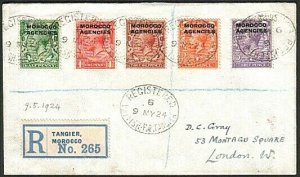 MOROCCO AGENCIES 1924 Registered cover Tangier to London...................73671