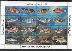 Libya 1107 Fish MNH M/S x 25, vf. 2022 CV $ 250.00