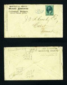 # 147 cover Dubuque & Iowa Falls RPO Cancel to Cabot, Vermont - 2-26-1870's