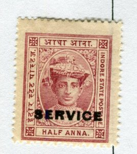 INDIAN STATES; INDORE 1904-06 early local issue Mint hinged SERVICE 1/2a. value
