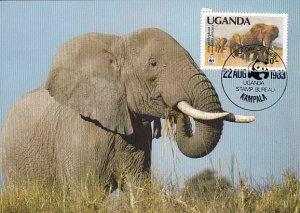Uganda 1983 Maxicard Sc #372 10sh African elephant WWF