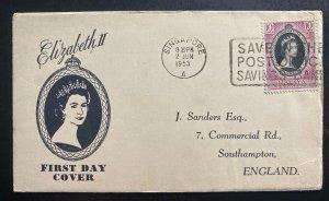 1953 Singapore Malaya  first day cover Queen Elizabeth II Coronation QE2