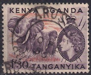 Kenya Uganda Tanganyika 1955 QE2 1'30c Elephants used SG 176 ( F5 )