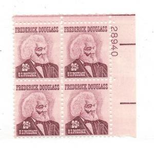 united States, 1290. 25c Frederick Douglass Plate Block of 4 #28940 UR, MNH