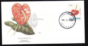 Flora & Fauna of the World #129b-Flower FDC-Flamingo Lily-Mozambique-single stam