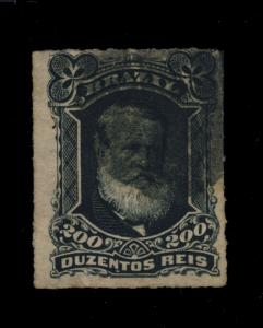 BRAZIL - 1877 - 200rs BLACK (RHM42) FINE USED CORK CANCEL