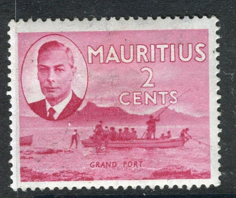 MAURITIUS;  1950 early GVI issue fine Mint hinged 2c. value