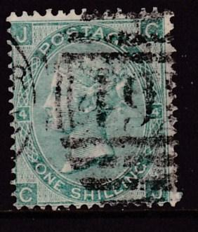 Great Britain 1865 QV Nr.48 1Shilling grn Halfway St. Numeral  Plate-4 F/VF/(o)
