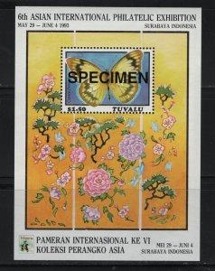 TUVALU, 637, MNH, 1993, BUTTERFLIES, SPECIMEN, SOUVENIR SHEET