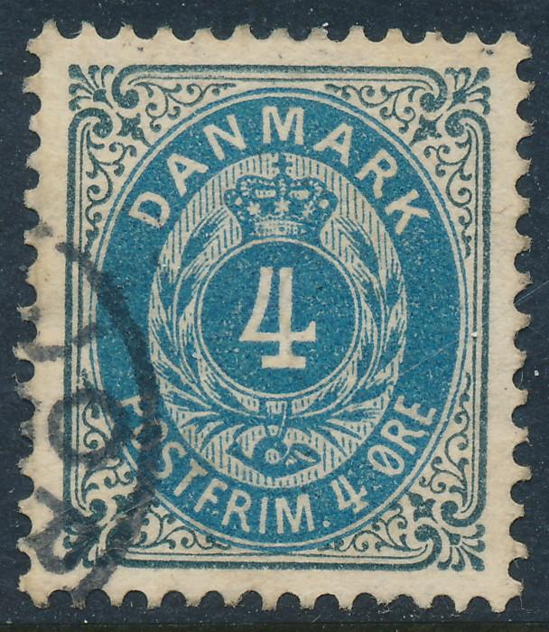 Denmark Scott 42a (AFA 23By), 4ø grey/blue Bicolour, XF Used