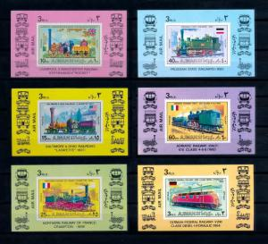 [62321] Ajman 1971 Railway Train Eisenbahn Chemin de Fer 6 Single Sheets MNH