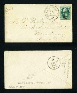 FREE SHIPPING - # 207 cover Washington & Richmond RPO to NY, NY - 7-23-1883