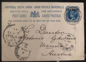 1893 Sibpur India Postal Stationary Postcard Cover To Vienna Austria Botanic Gar