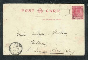 CAPE OF GOOD HOPE COVER (P3006B)  1903 KE 1D ON PPC TO ORANGE RIVER COLONY