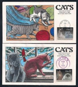 UNITED STATES FDCs (4) 22¢ Cats 1988 Collins H-P