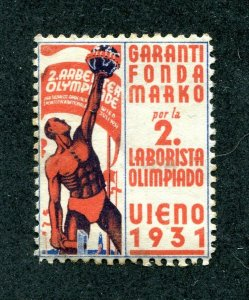 x567 - ESPERANTO Olympic Fund Stamp / Label - Austria 1931 Used. Art Deco Poster