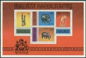 Malawi 302a,MNH.Michel Bl.47. Handicrafts 1977.Animal figurines,Arms.