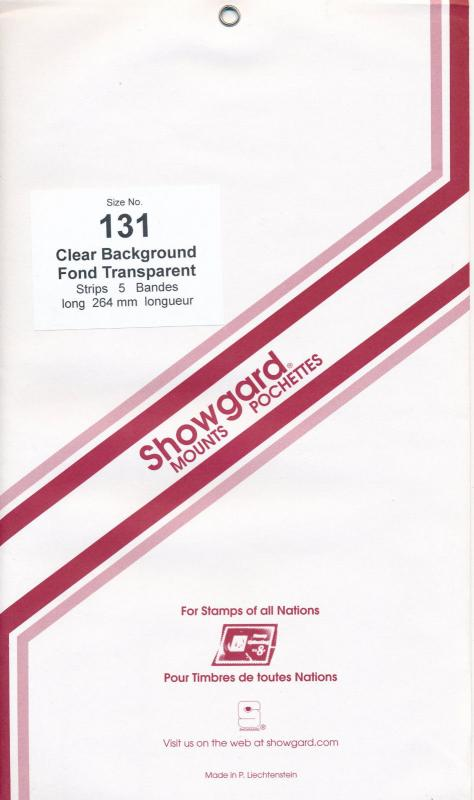 Showgard Stamp Mount 131/264 CLEAR Background Pack of 5