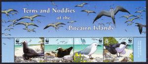 Pitcairn WWF Seabirds Narrow Top Strip of 4v with names SG#724-727 SC#647a-d