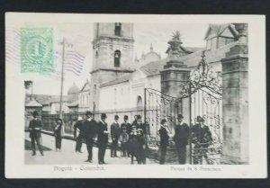 1914 Bogota Colombia to Copenhagen Denmark St Francisco Park RPPC Postcard Cover