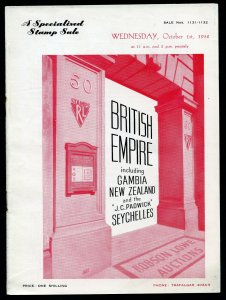1952 Robson Lowe Specialised British Empire Auction Catalogue (BK#36).