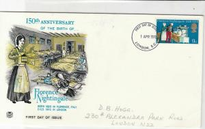 british 1970 150th ann birth Florence Nightingale FDissue stamps cover ref 21542