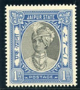 India - Jaipur 1943 1a black & blue fine MNH. SG 60