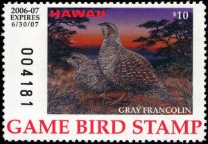 HAWAII #11A 2006 STATE DUCK STAMP GAME BIRD GREY FRANCOLIN by Don Hoyes