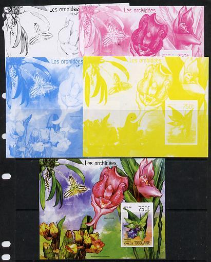 Togo 2014 Orchids imperf s/sheet A - the set of 5 imperf ...