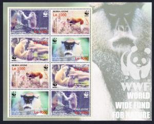 Sierra Leone WWF Patas Monkey Sheetlet of 2 sets SG#4290-4293 MI#4694-4697