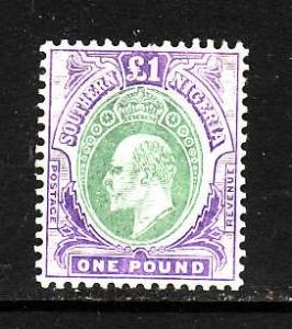 Southern NIgeria - Sc#31-unused light hinge 1 pound purple & gray green KEVII-19