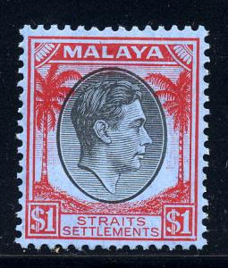 Malaya Straits 1938 SG 290 $1 black & red / blue, fine mint