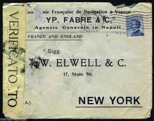 ITALY 1919 CENSORED COVER NAPOLI 10/24/1917 TO NEW YORK