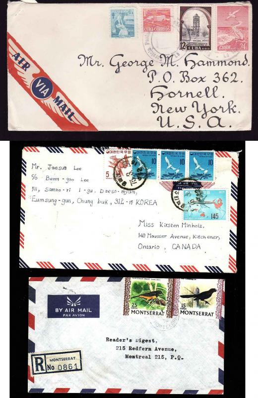 Three covers with Birds on stamps-#10