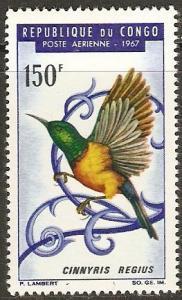 1967 Congo Peoples Republic Scott C48 Regal Sunbird MNH