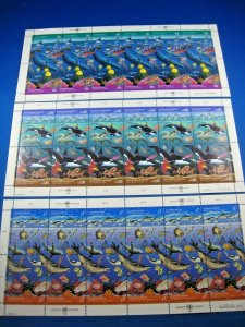 UN - SCOTT #603-4 NY, #214-15 G, 12 V -1992 CLEAN OCEANS- 3 FULL PANES OF 12 MNH