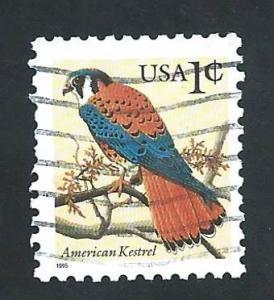 SC# 2477 - (1c) - American Kestrel, denom 1c, used single
