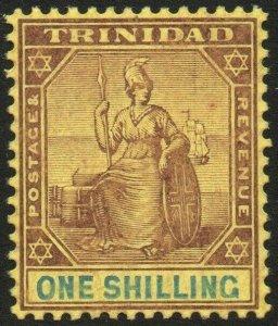 TRINIDAD-1906 1/- Purple & Blue/Golden Yellow Sg 142 LIGHTLY MOUNTED MINT V48564