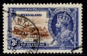 NYASALAND PROTECTORATE GV SG125, 3d brown & deep blue, FINE USED. Cat £22.