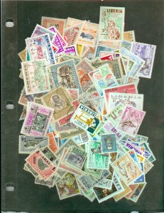 selection Liberia 350 stamps and 19 souv sheets all common CV about $220