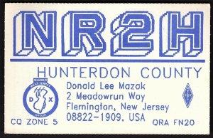 QSL QSO RADIO CARD NR2H,Hunterdon County,Donald Lee Mazak, New Jersey (Q2785)