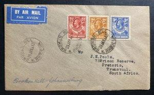 1932 Broken Hill Northern Rhodesia First Flight Cover FFC To Pretoria South Afri