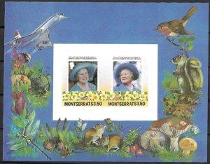 Montserrat MNH S/S Queen Mother W/Concorde Jet & Mushrooms 1985 1985