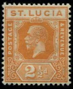 St Lucia SC# 82 KGV 2-1/2d wmk 4 MH with mount