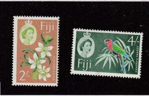 FIJI (MK6468) # 184,186 VF-MNH 2,4sh 1962-67 QE2 / PARROT/ WHITE ORCHID CV $16