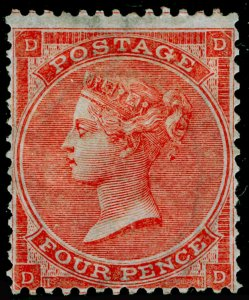 SG81, 4d bright red plate 4, M MINT. Cat £2300. HAIRLINES. DD