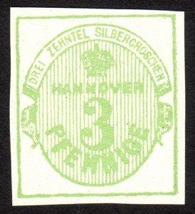 1863, Germany Hanover 3Pfg, MNG, Sc 17, FORGERY / REPRINT